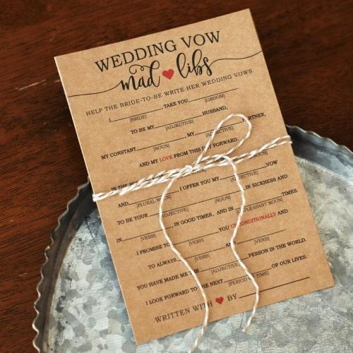 wedding vow mad libs
