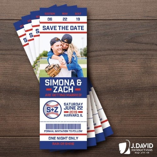 Baseball Fans Save-the-Date Ticket