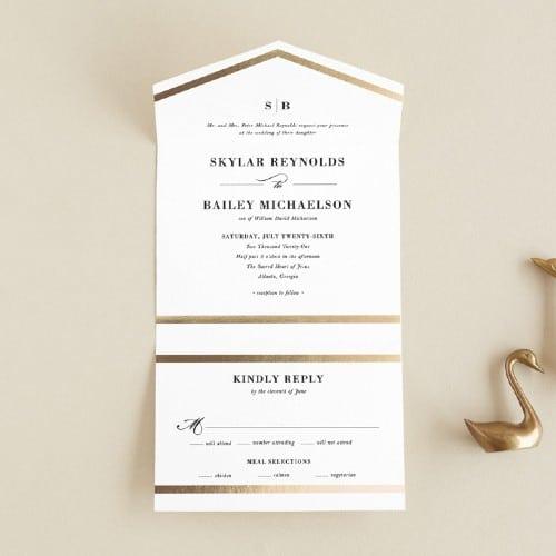 Classic Monogram All-in-One Foil-Pressed Invitation
