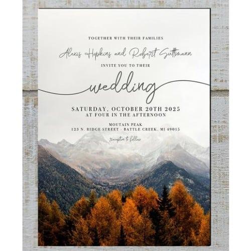 Fall Mountain Wedding Invitations