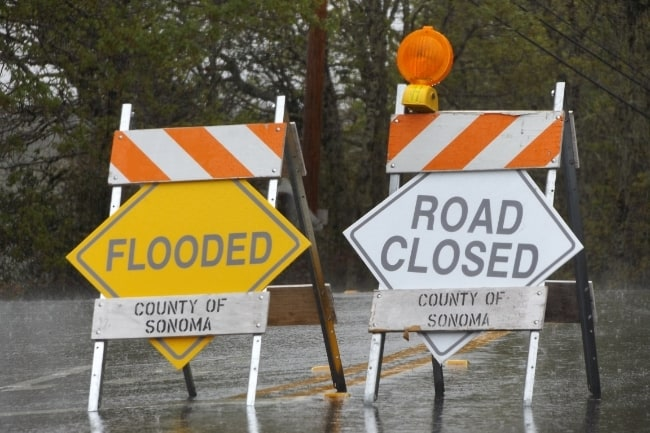 road closed flood signs