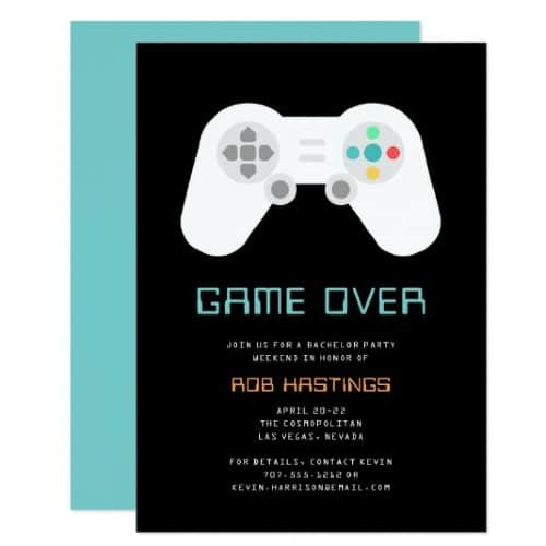 Game Over nintendo style bachelor invitation