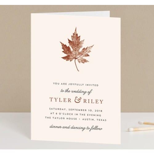 Leaf Print Four-Panel Invitations