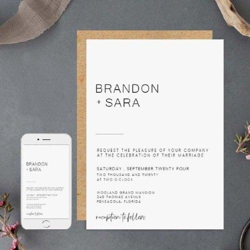 Minimalist Wedding Invitation Template