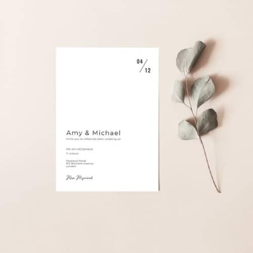 Minimalist wedding invitation printable template