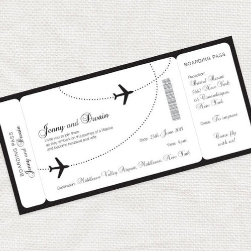 Airline boarding pass wedding invite