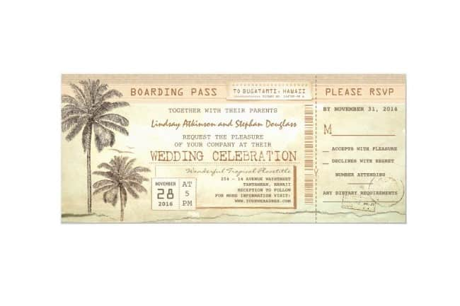 Vintage Palms Seaside Boarding Pass Invitation