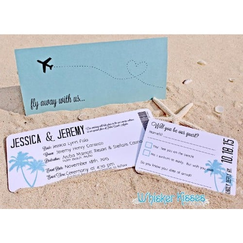 Tropical Paradise Boarding Pass Invitation/Save the Date