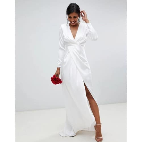 Pleated Plunge Wrap Wedding Dress in Satin