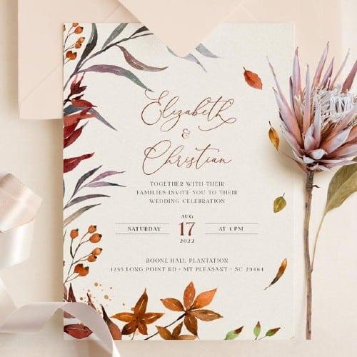 Sienna Rustic Fall Wedding Invitation