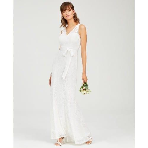 Lace V-Neck Sash Gown