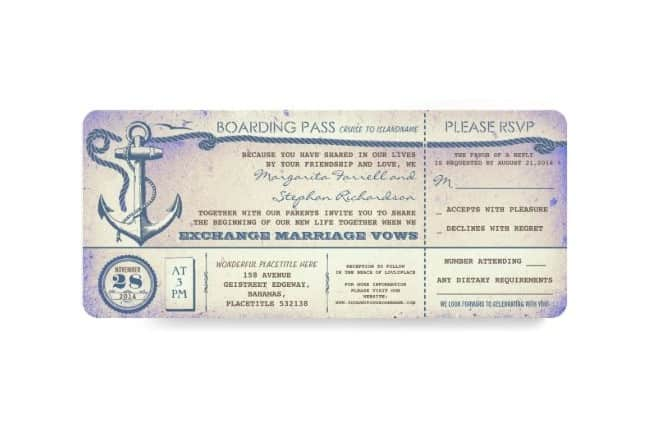Vintage Nautical Boarding Pass Invitation/RSVP