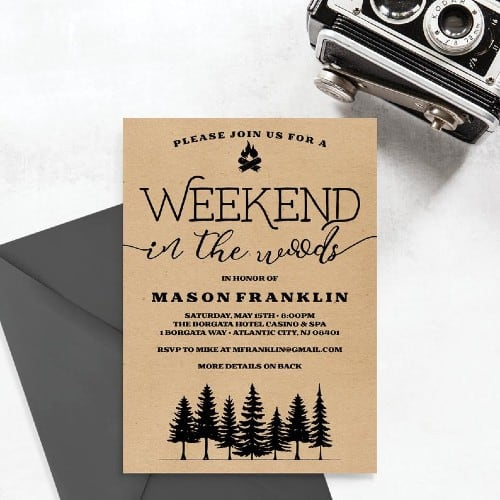 Weekend in the Woods bachelor invite