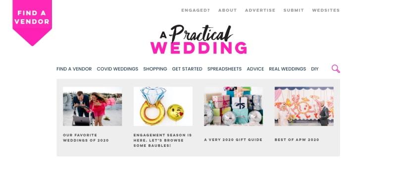Apracticalwedding.com home page