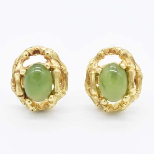 Jade and bamboo stud earrings