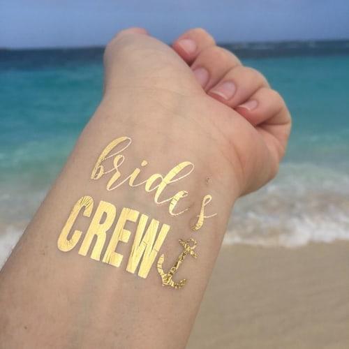 Bride's Crew Tattoo Gold