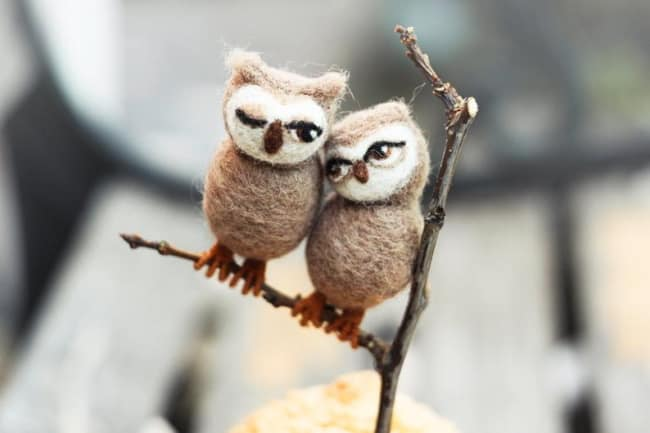 felted wool owls cake topper
