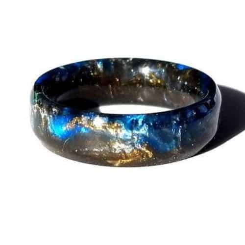 Galaxy Nebula Resin wedding band