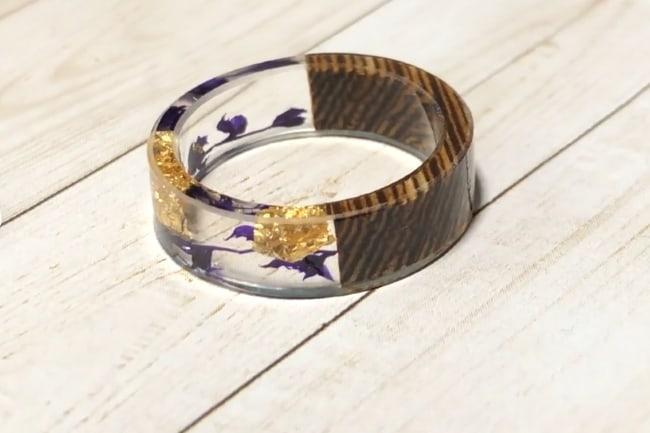 Lavender Resin Wedding Band Ring
