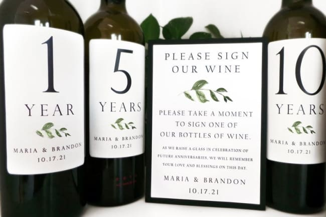 wine label wedding guestbook