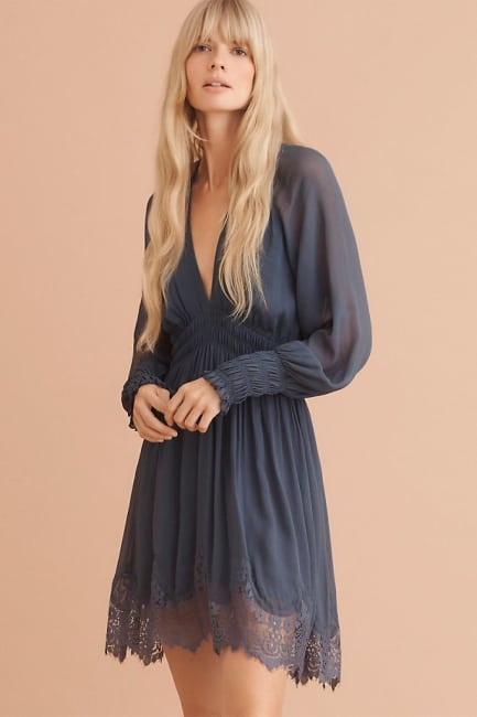 blue-grey lace trim dress