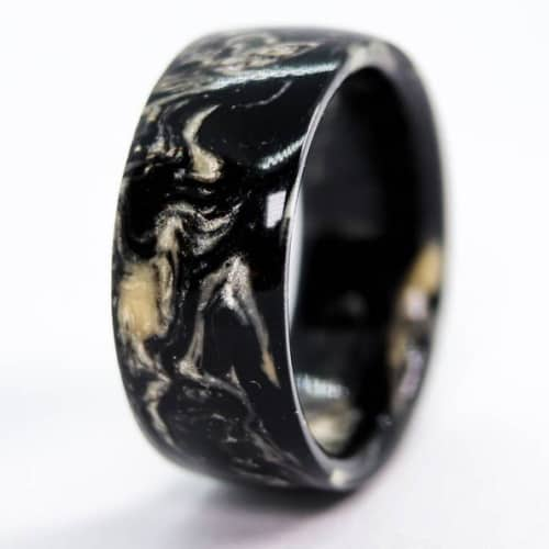 White Gold and Charcoal Marbled Resin wedding band
