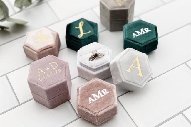 velvet personalized ring box