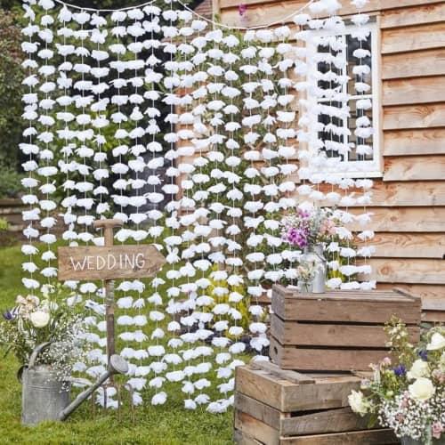 paper flower curtain wedding backdrop