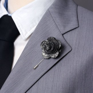 graphite silver leather boutonniere
