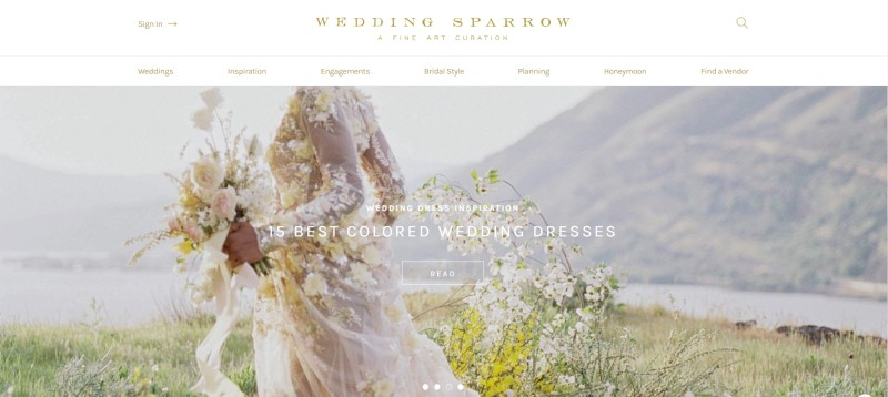 wedding sparrow home page