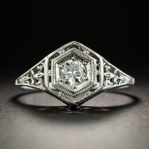1920's Belais Bros Art Deco Filigree Ring