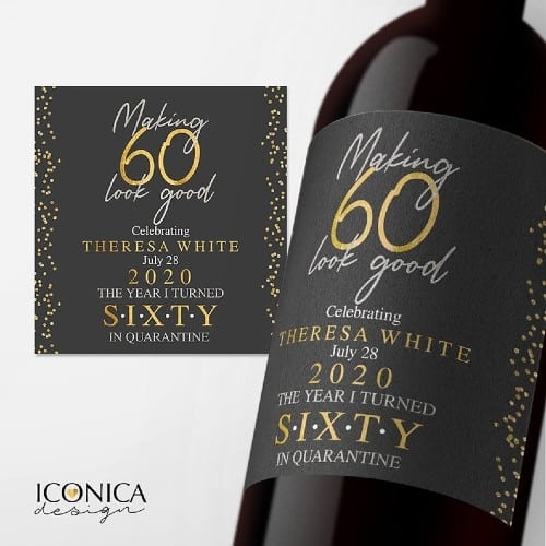 60th Birthday Personalized Wine Labels