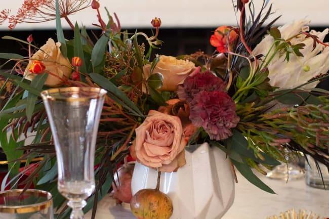 floral arrangements on table