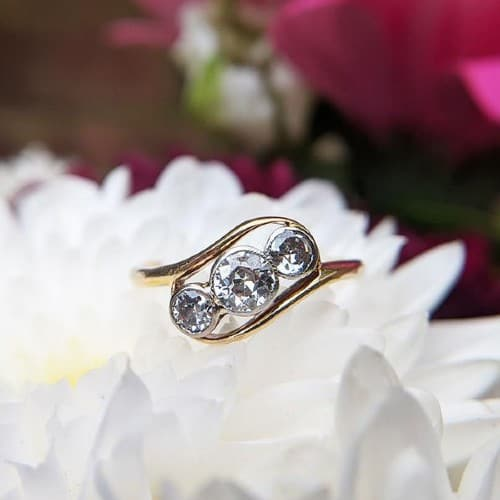 18K Gold & Diamond Trilogy Ring