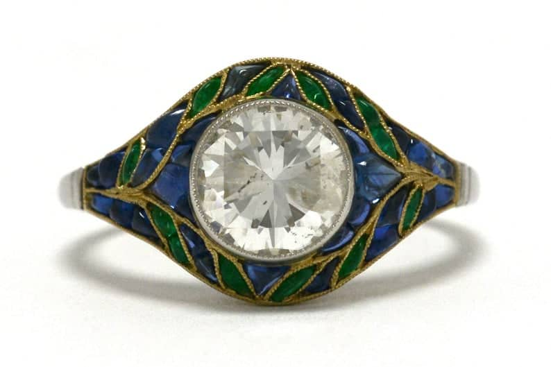 18K Gold Diamond, Sapphire, and Emerald Floral Leaf Engagement Ring