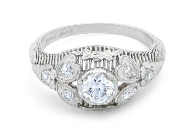Platinum Diamond Ring With Heart and Foliate Motifs