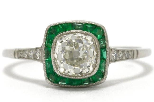Cushion Diamond and Emerald Halo Antique Vintage Filigree Ring