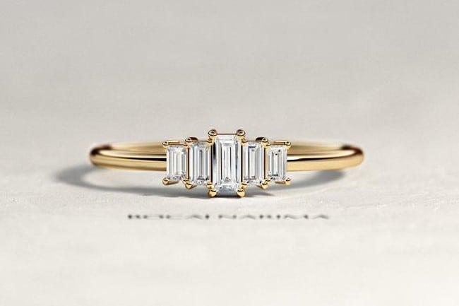 Art Deco Baguette Engagement Ring