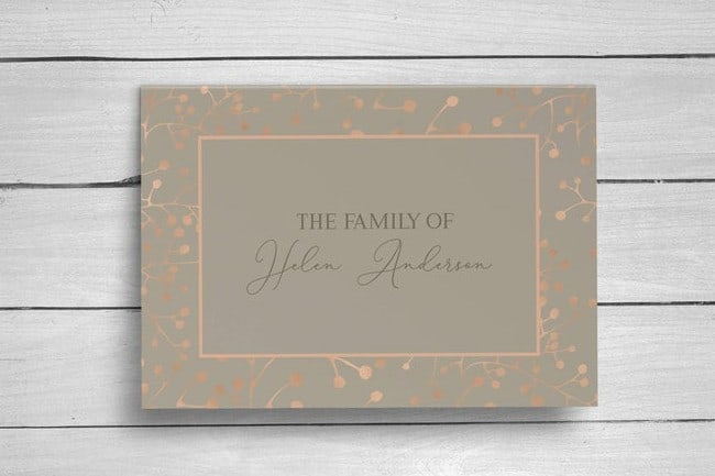 Personalized Rose Gold Folding Funeral Thank You Cards