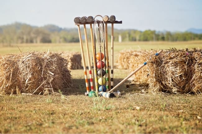 Croquet set in a field