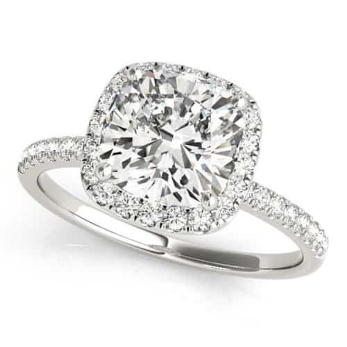 Cushion Cut Halo Diamond Engagement Ring