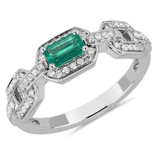 Emerald-Cut Emerald and Diamond Engagement Ring