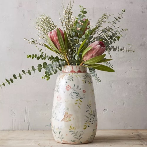 Floral Print Vase with flowers
