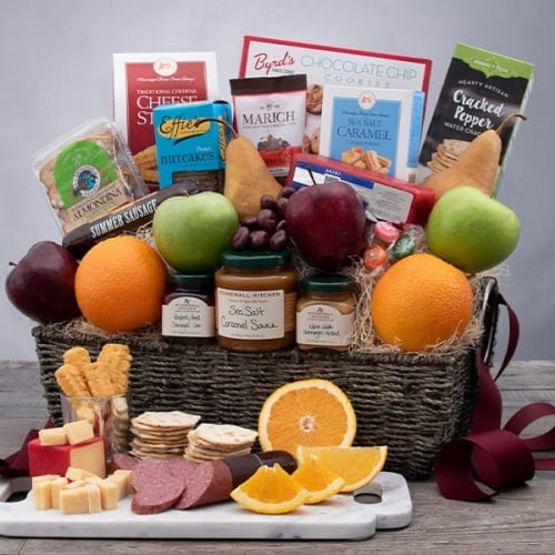 bountiful harvest gift box with fruit and snacks