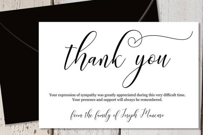 Formal Black & White Calligraphy Funeral Thank You Cards