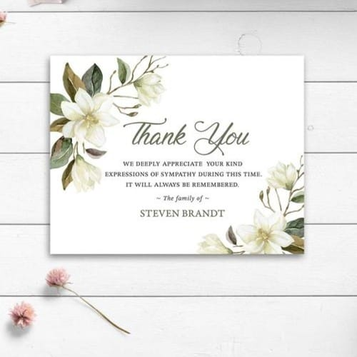 Green and White Floral Funeral Thank You Card