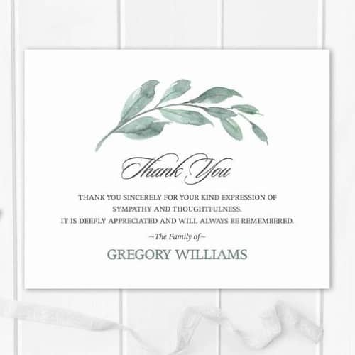 Sage Greenery Funeral Thank You Card