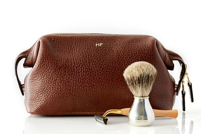 30th gift - monogrammed Leather Toiletry Bag