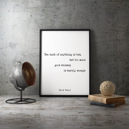 Mark Twain Whiskey Quote Print