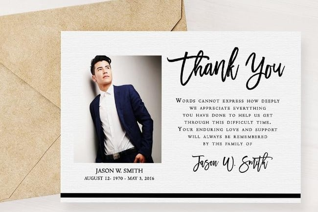 Black and White Modern Funeral Thank You Card